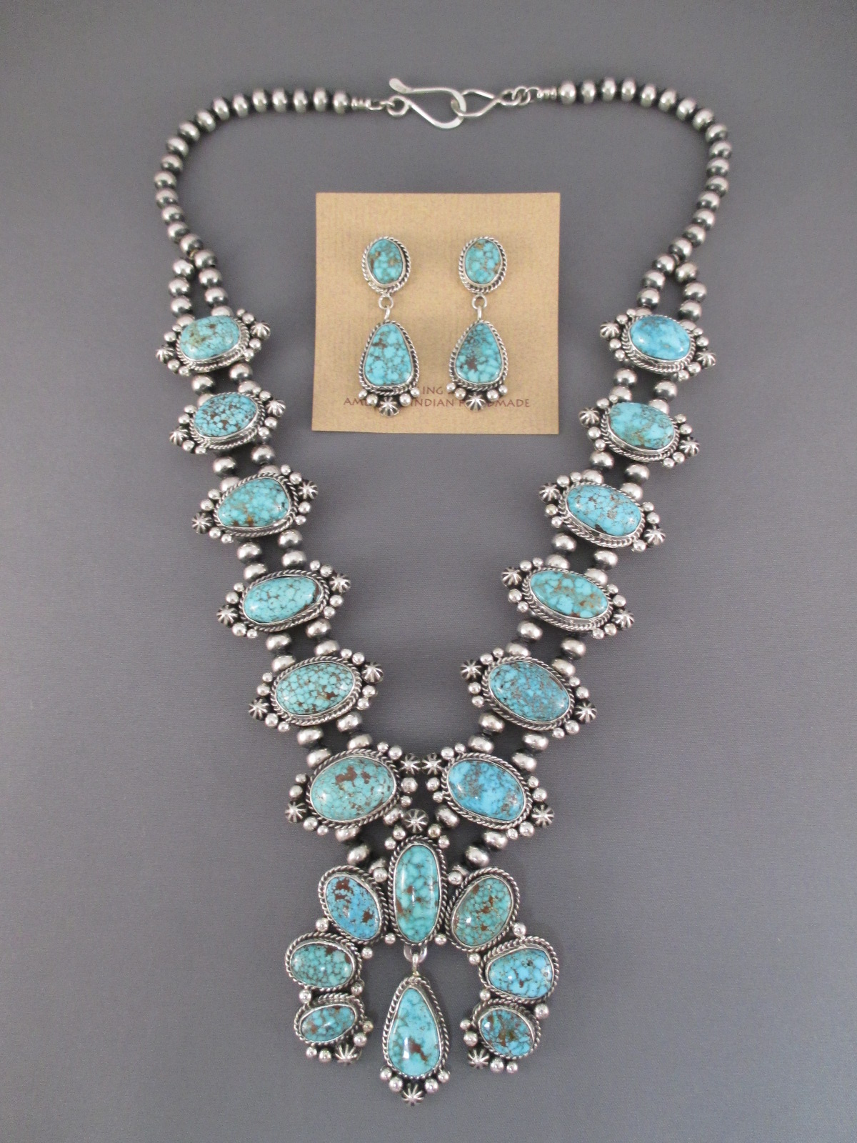 Kingman Turquoise Squash Blossom Necklace Amp Earrings Set