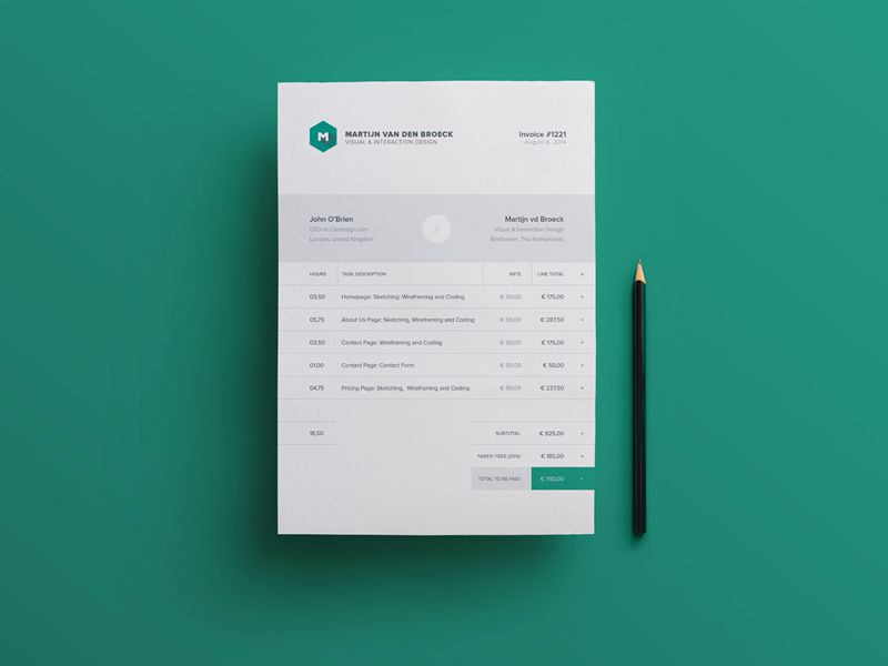 10 Free Invoice Templates for Creatives   1stWebDesigner Modern Invoice Template