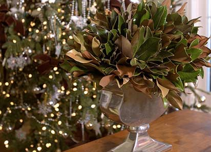 Christmas Archives   P  Allen Smith Magnolia leaves with their dual coloration are a beautiful display in a  silver vase