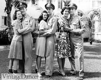 1940s Fashion History for Women and Men 1940s couples  men in uniform