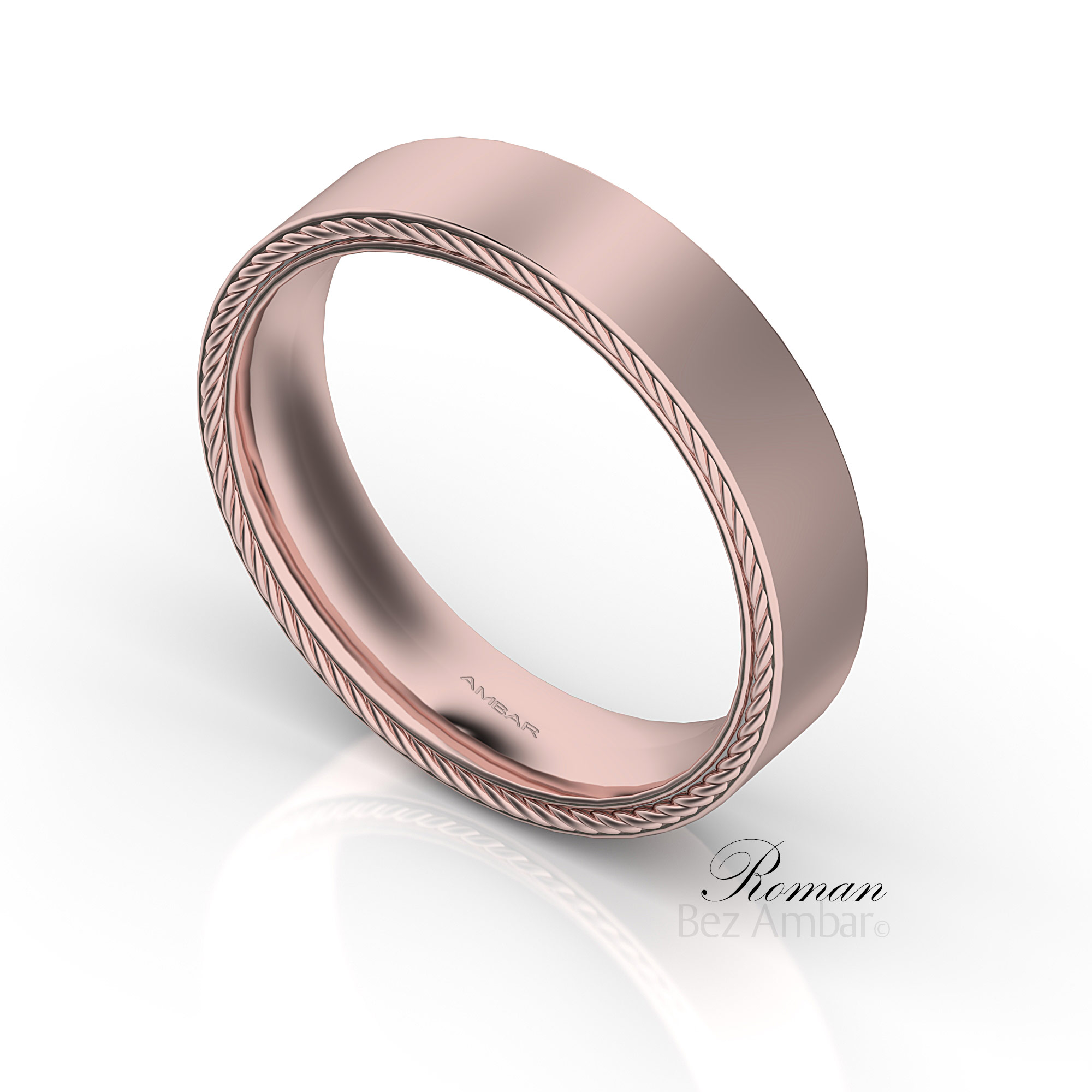 The Roman 5mm Gold Wedding Band For Men