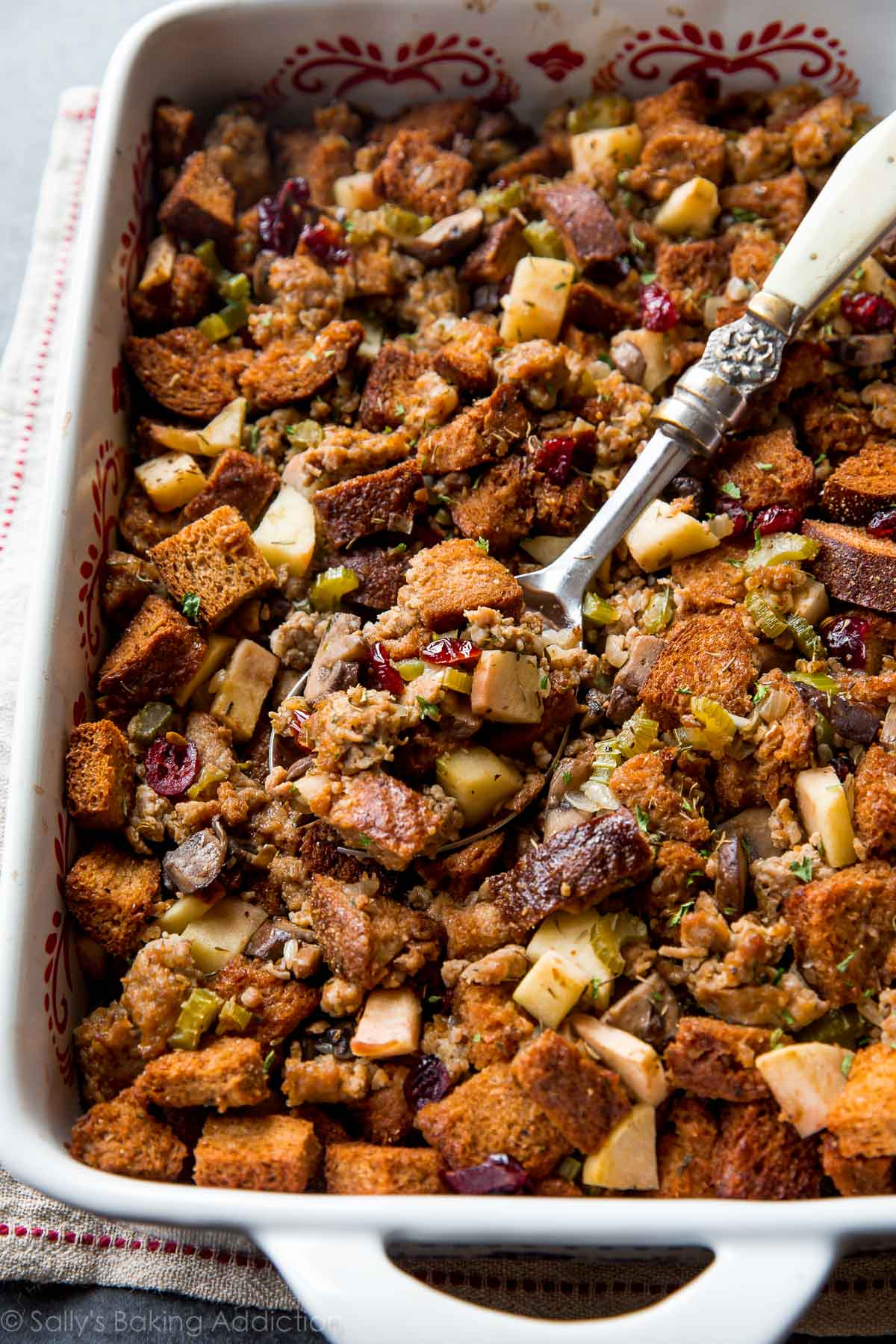 Herbed Sausage  Cranberry  and Apple Stuffing   Sallys Baking Addiction The BEST Thanksgiving dressing recipe  With apples  sausage  savory herbs   mushrooms