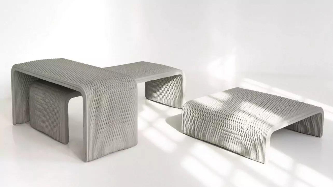 Berliner Designer fertigen Betonbänke mit gewebtem Muster mit 3D-Drucker