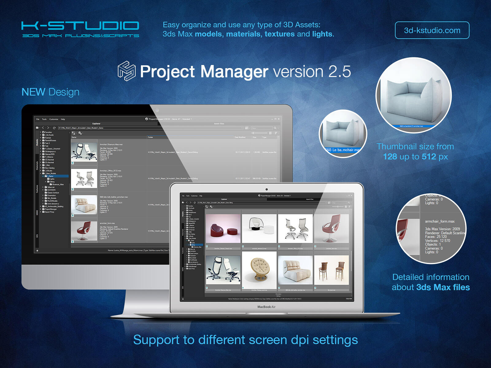 Project Manager   Asset Browser   Kstudio   3ds Max Plugins   Scripts Project Manager version 2 5  3D Models Explorer