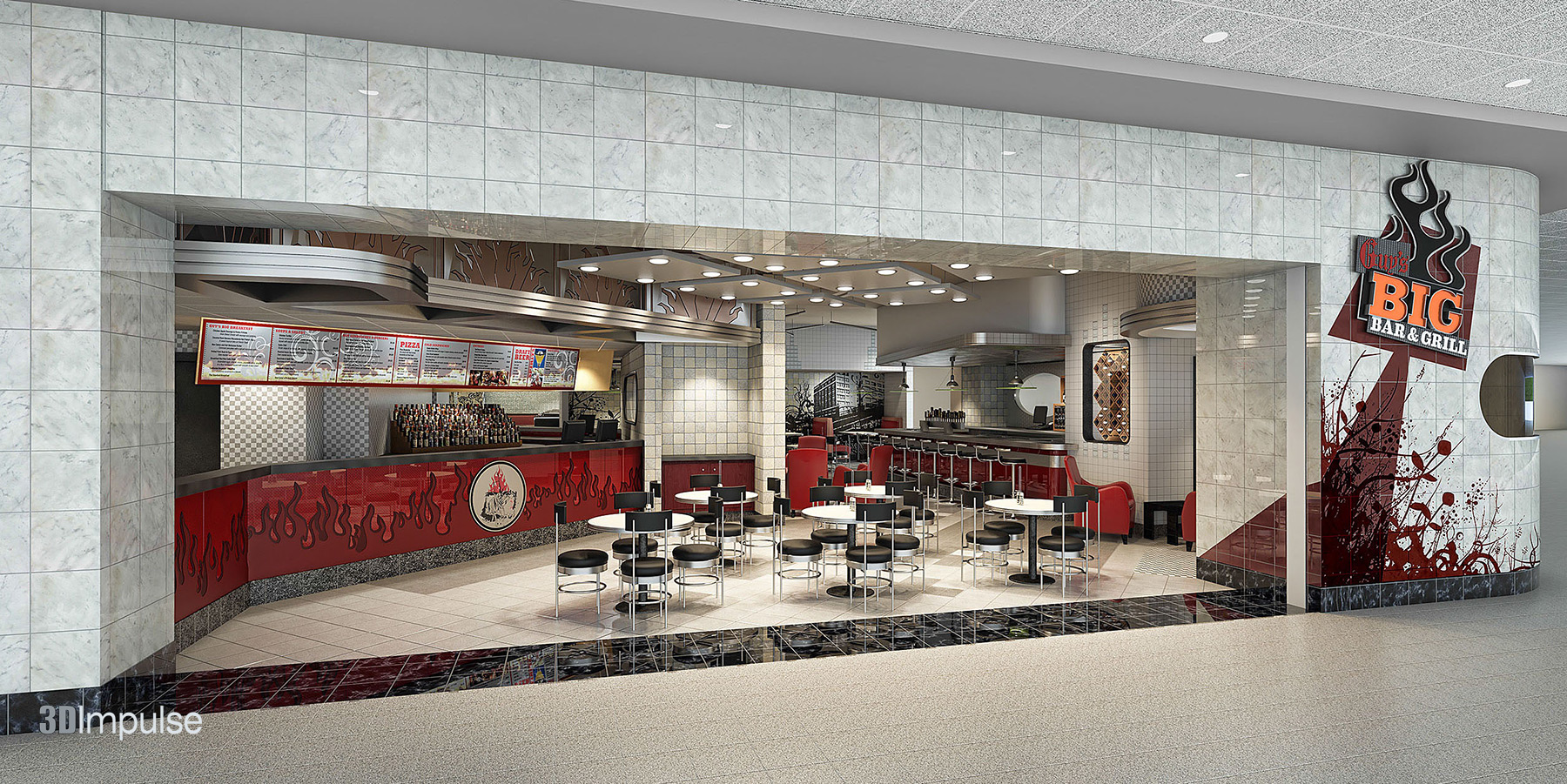 Airport Restaurant Diner Storefront 3d Impulse
