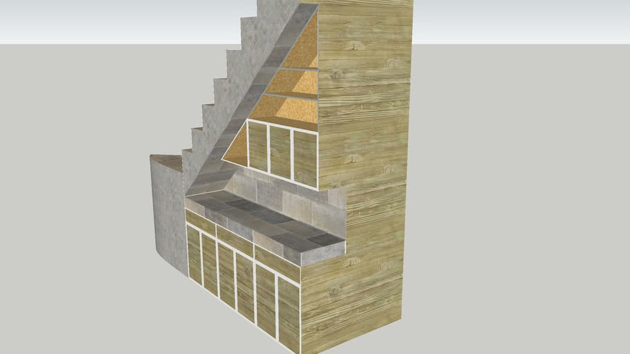 Bar Counter Entertainment Station Underneath Stairs 3D Warehouse | Bar Under The Stairs Design | Escalera | Kitchen | Storage | Basement Remodeling | Attic Stairs