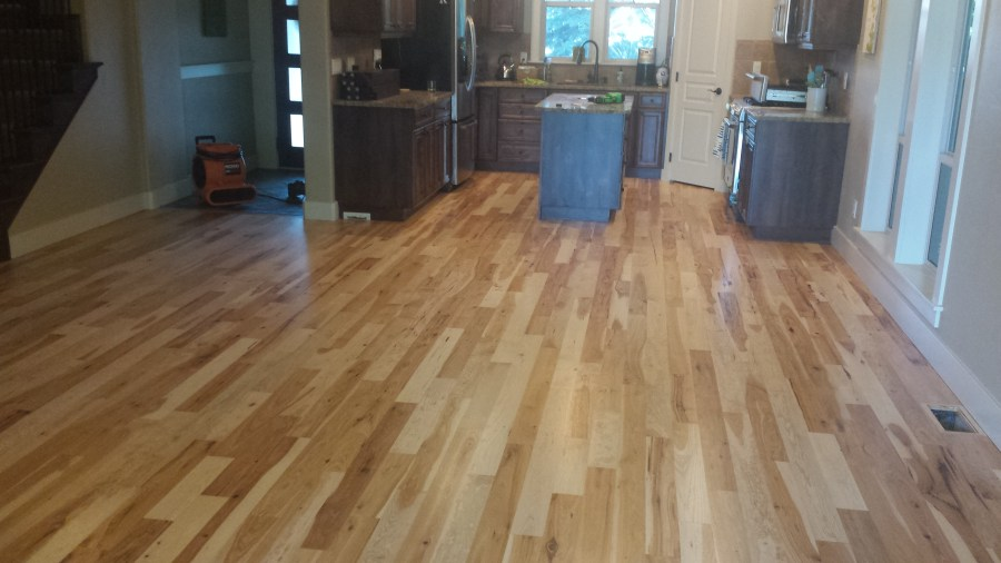 Hickory Flooring Refinish using UV on Boise Ave    A MAX Hardwood     The final text to A Max Hardwood from the homeowner was     I have yet to  move the furniture back due to the floor