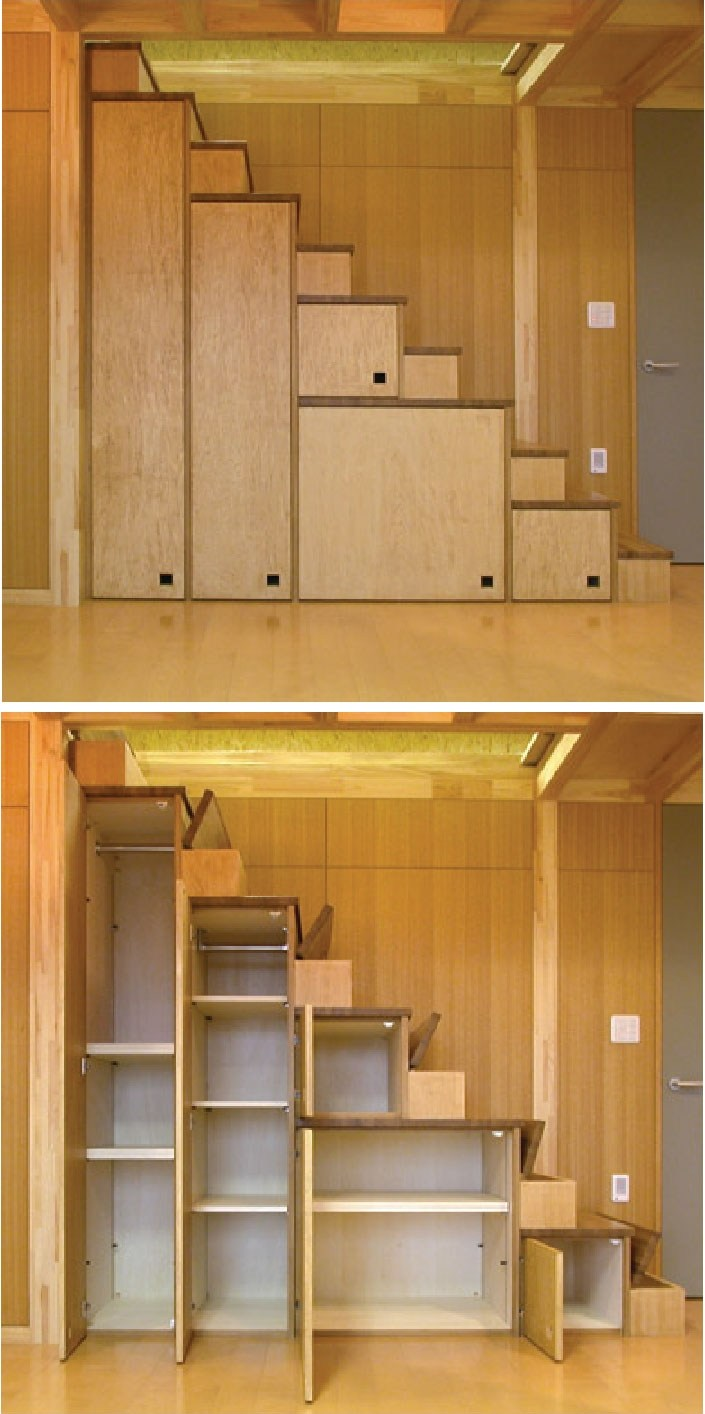 Tiny House Furniture Fridays 22 Staircase Storage Beds Desks   Space Saving Staircases For Small Homes   Design   Attic Ladder   Wood   Ladder   Loft Stairs