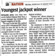 Malaysia 4D online betting Youngest jackpot winner