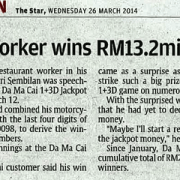 4D Result Eatery worker wins RM13.2mil jackpot