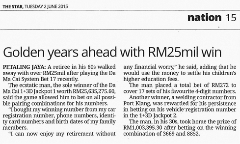 4D Result Golden years ahead with RM25mil win