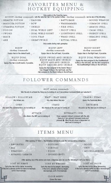 Commands Voice Kinect Skyrim
