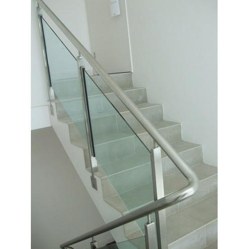 Stainless Steel Stair Glass Railing At Rs 1650 Feet Porur | Stainless Steel Staircase Railing With Glass | Thin Glass | Stairway | Tempered Glass | Handrail | Banister