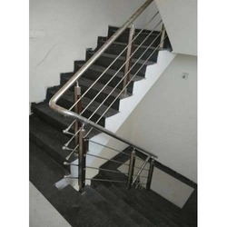 Steel Railing Ss Modular Railing Manufacturer From Bengaluru   Pipe Handrails For Steps   Simple Pipe   Kee Klamp   Contemporary Wood   House   Stair Outdoor Decatur