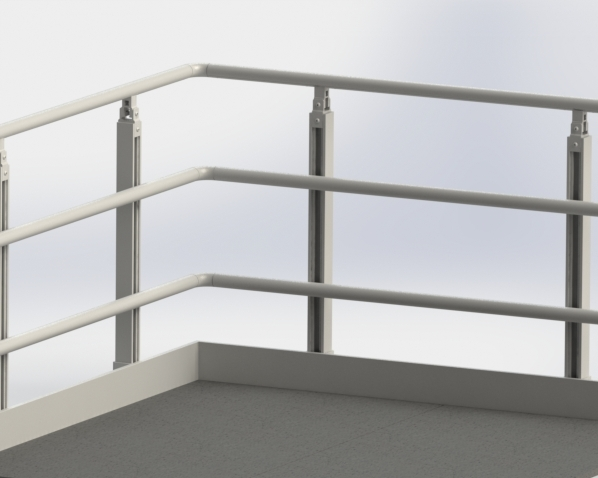 Alphastrut Aluminium Handrail System For Offshore And Marine   Aluminium Handrails For Stairs   Guardrail   Exterior   Wood Wall Mounted Stair   Copper   Glass Balustrade