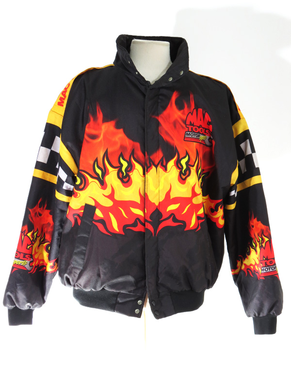 90s Mac Tools Racing Flame Print Puffy Swingster Jacket