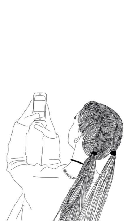 Drawings Girl Outline Simple Black