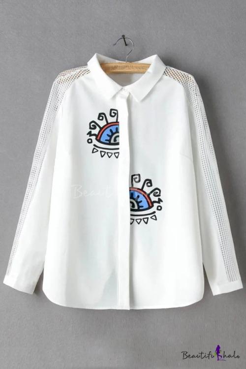 Duck Print Shirt Mens Button