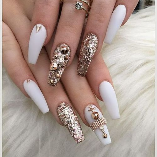 Square Tip Acrylic Nail Designs With Rhinestones
