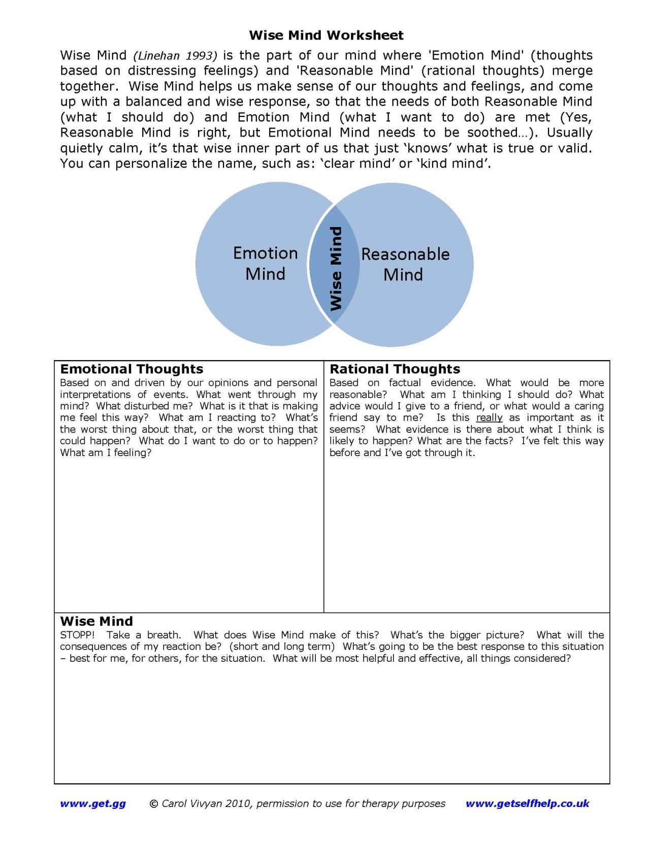 Free Self Improvement Worksheets