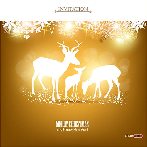 Merry Christmas and Happy New Year Invitation   Free Vector Graphic     Merry Christmas and Happy New Year Invitation