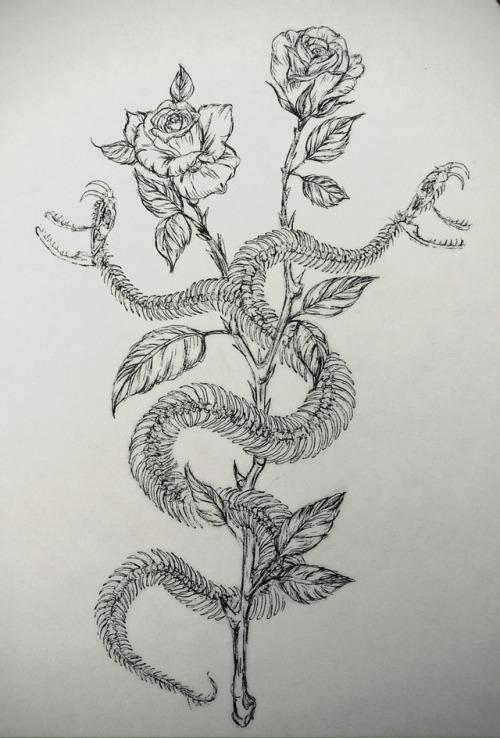 Snake Skull And Rose Tattoos
