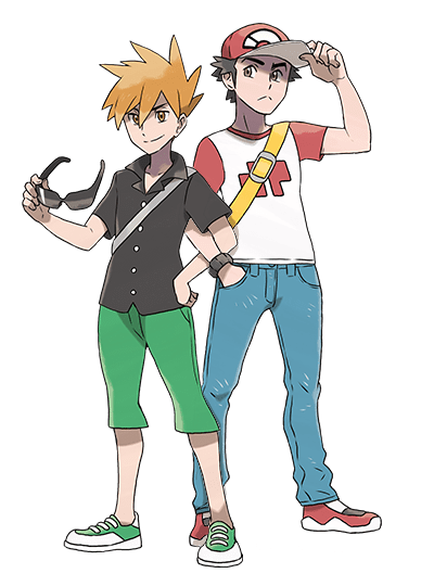 Pokemon Trainer Red Green Blue And Yellow Cartoon ...