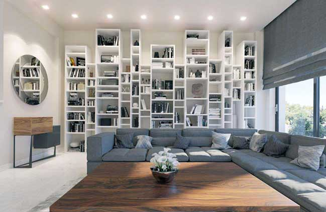 Three story house interior design with white dominant color