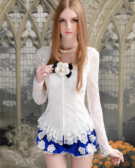 Beautiful Lace Detail White Long Sleeve Blouse on Luulla
