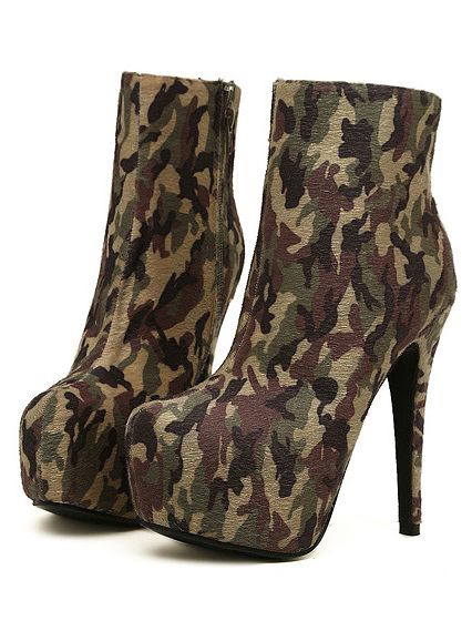 Camouflage Boots Ankle Heel High