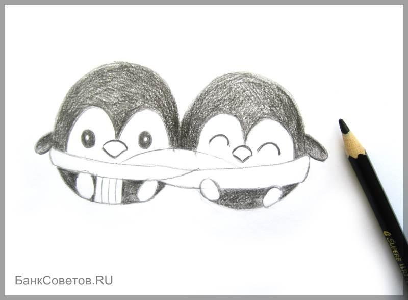 चरण №11: पेंगुइन पेंसिल कैसे आकर्षित करें
