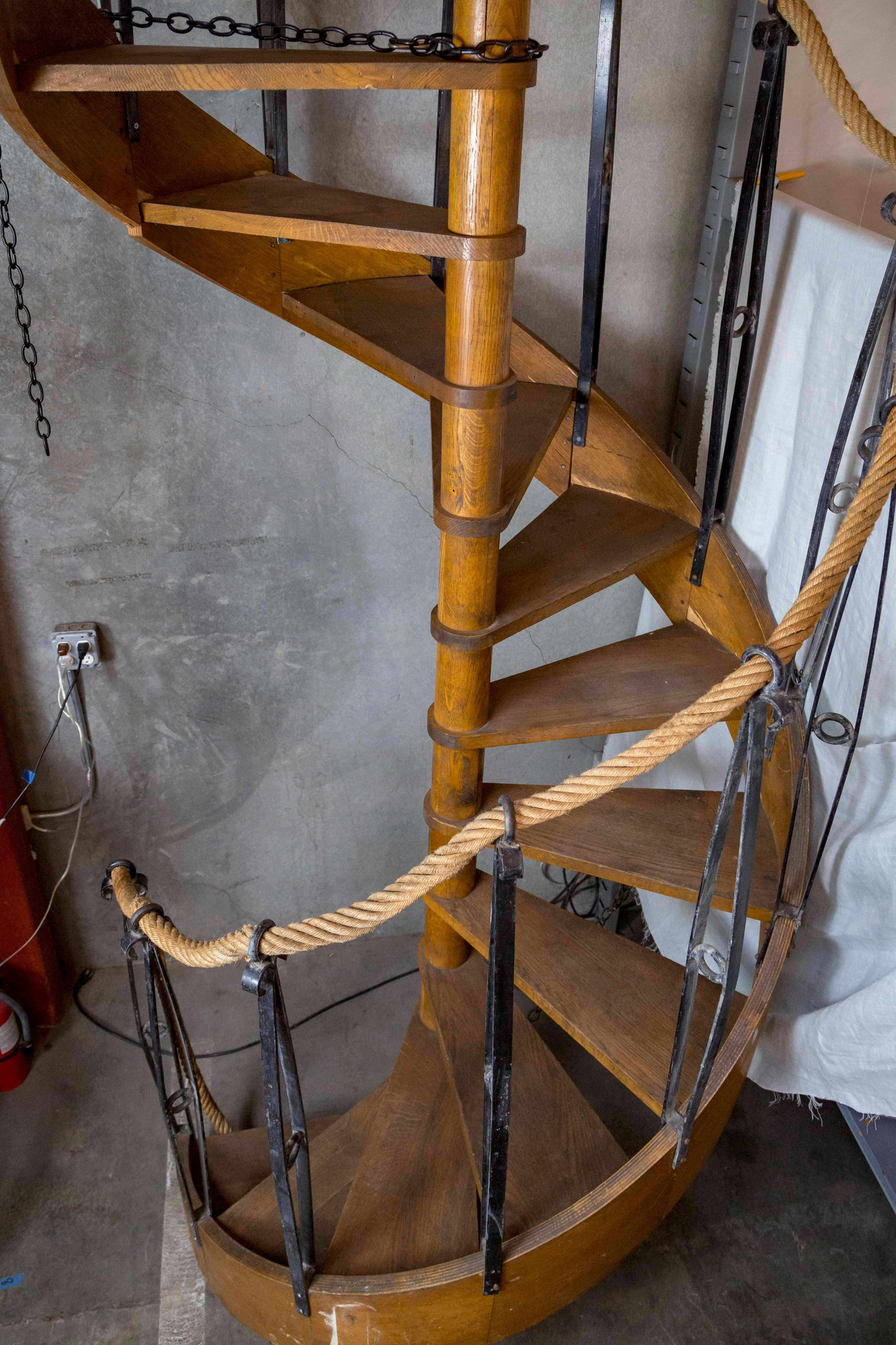 1930S Wood Spiral Staircase With Wrought Iron Balusters | Stair Banisters For Sale