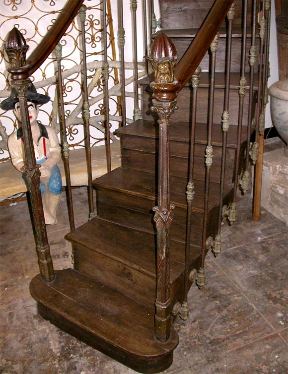 French 19Th C Hand Carved Cast Iron Staircase For Sale At 1Stdibs   Wood Stairs For Sale   Cheap   Trailer   Open Tread   Landing   Wooden