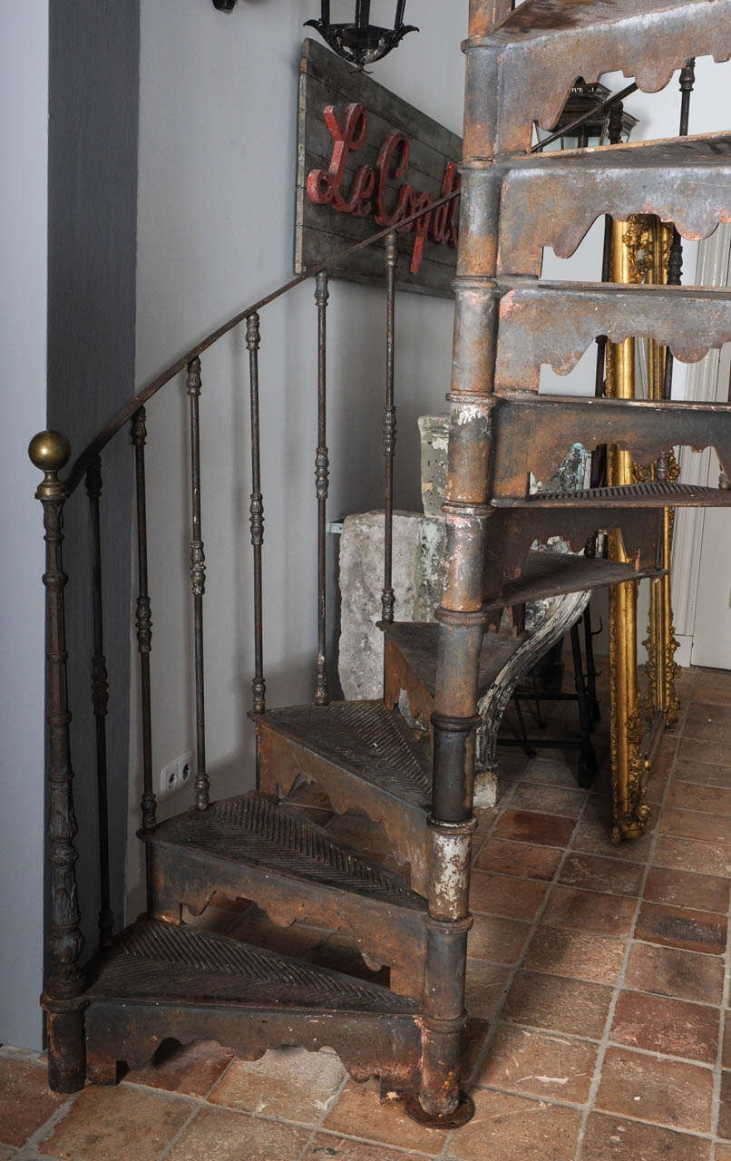 An Antique Industrial Cast Iron Spiral Staircase At 1Stdibs | Wrought Iron Spiral Staircase | Old | Plant Stand | Stair Case | Transitional | Narrow