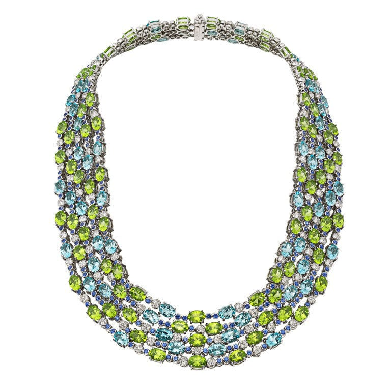 Antique Multi Colored Crystal Necklace