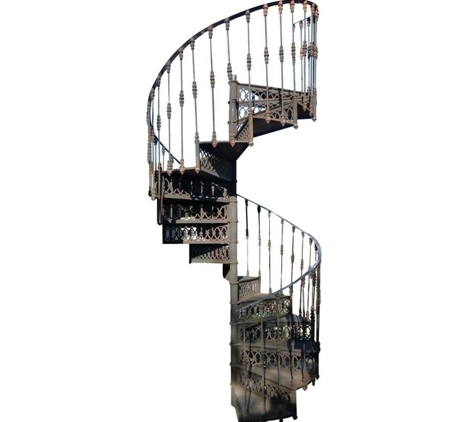 20Th Century Art Nouveau Style Cast Iron Spiral Staircase From | Wrought Iron Spiral Staircase | Wood | Gothic | Small | Mezzanine | Internal