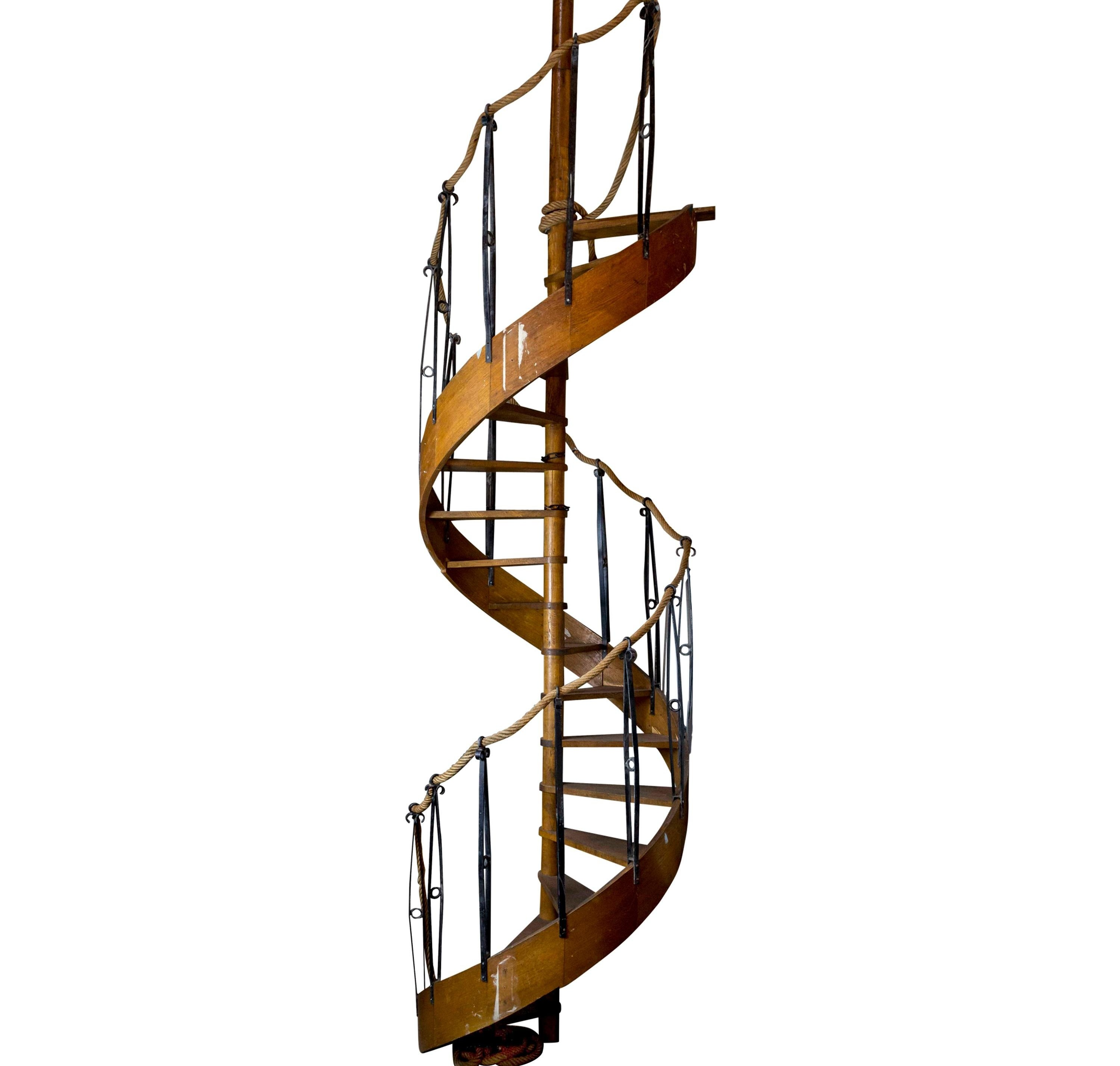 1930S Wood Spiral Staircase With Wrought Iron Balusters And Rope | Antique Spiral Staircase For Sale | French | Wooden | Old Fashioned | Wood Antique | Cast Iron
