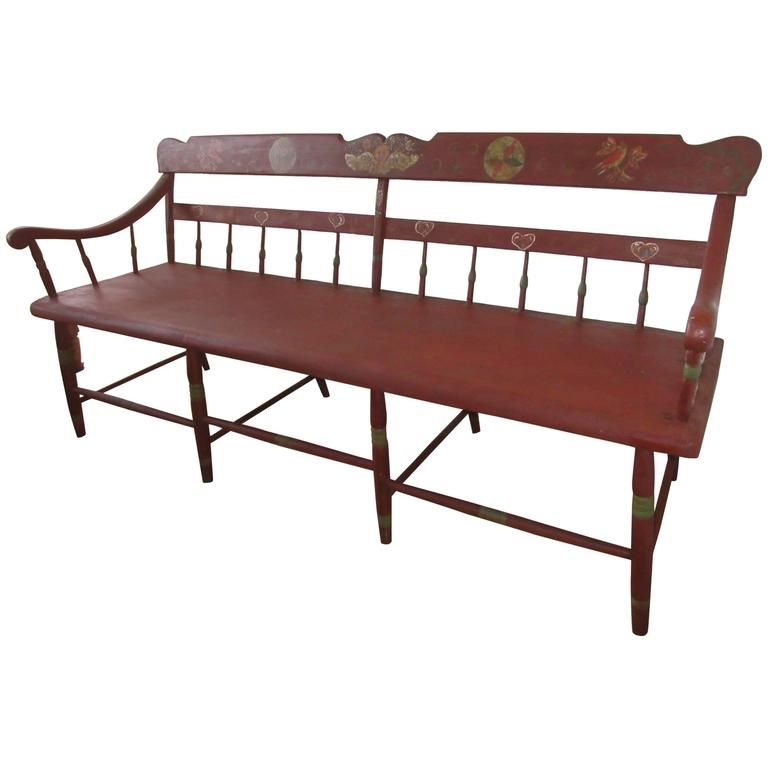 Late 19th Century Pennsylvania Deacons Bench Or Settle At