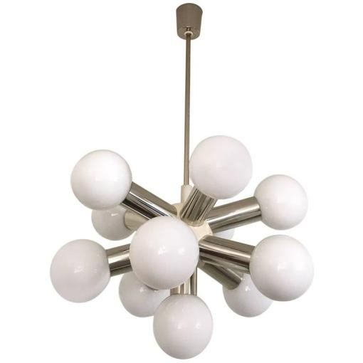 Mid Century Modern Sputnik Ceiling Lamp with Eleven Globes For Sale     Mid Century Modern Sputnik Ceiling Lamp with Eleven Globes For Sale