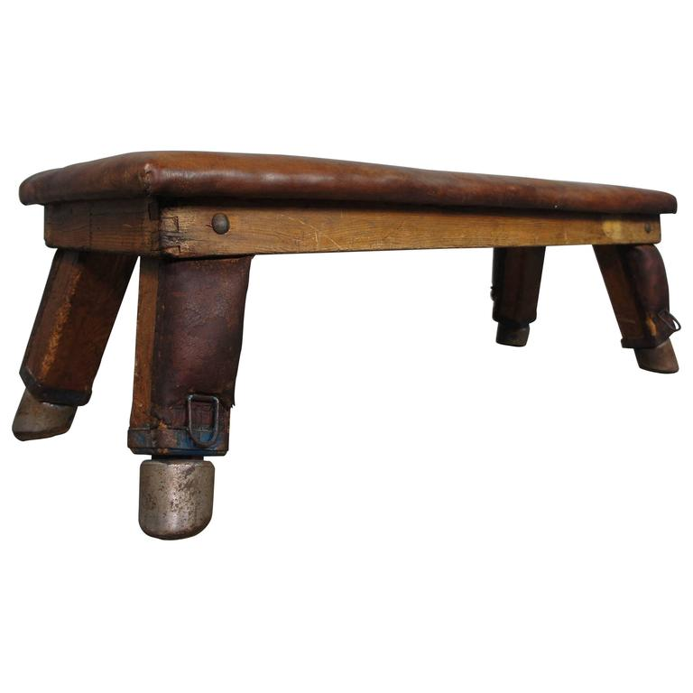 Mid Century Vintage Leather Gym Bench At 1stdibs