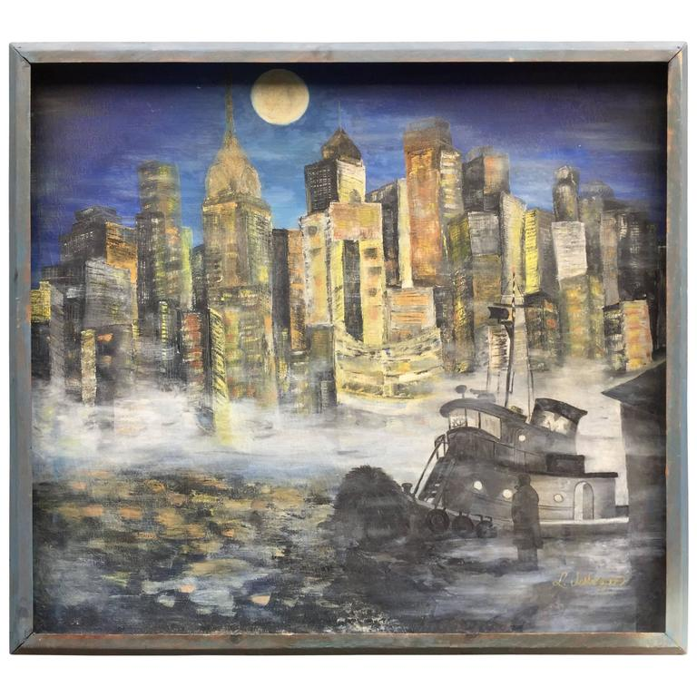 Fabulous Modern Painting of NYC s Time Square at 1stdibs 1960s NYC East River Cityscape Painting