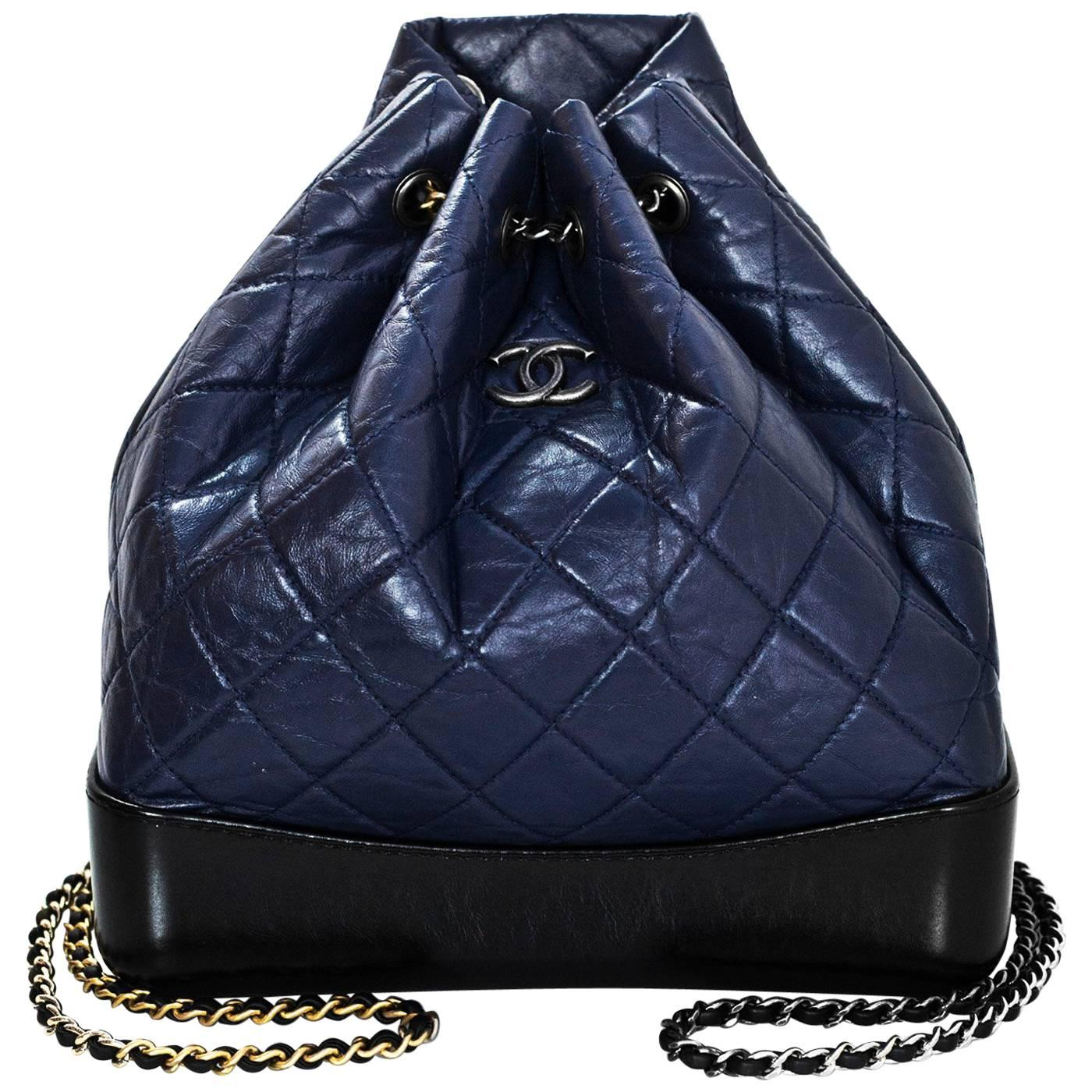 Chanel Navy And Black Aged Quilted Calfskin Gabrielle