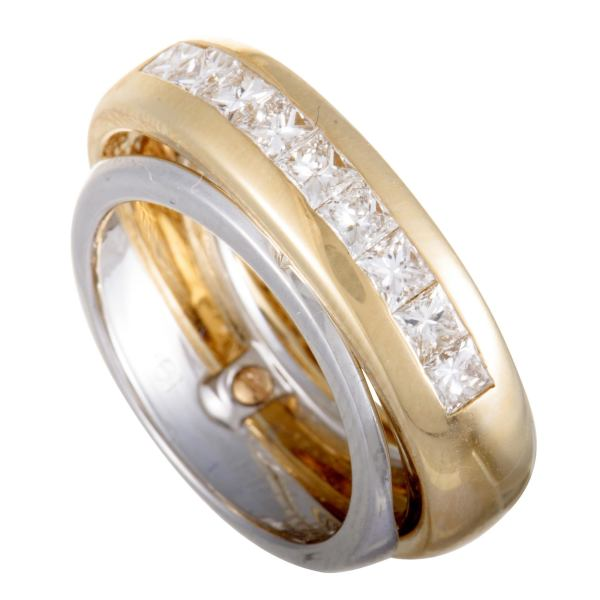 Cartier 18 Karat Yellow and White Gold Diamond Double Band Ring For     Cartier 18 Karat Yellow and White Gold Diamond Double Band Ring For Sale