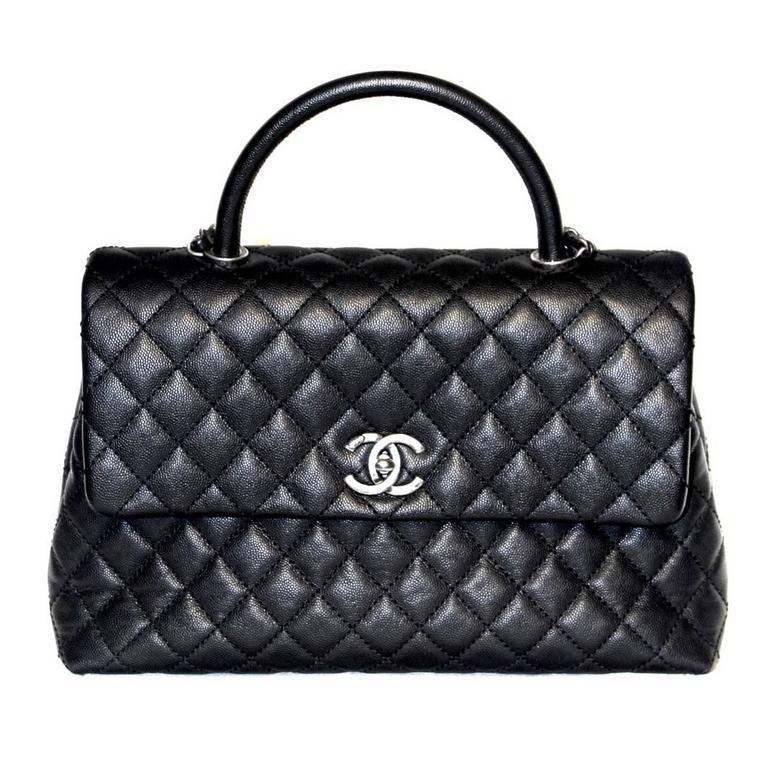 Chanel Coco Handle Bag - Black Caviar Leather - New at 1stdibs