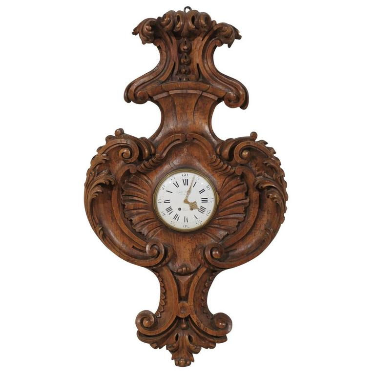 French 18th Century Carved Wood Wall Clock Signed Gille L