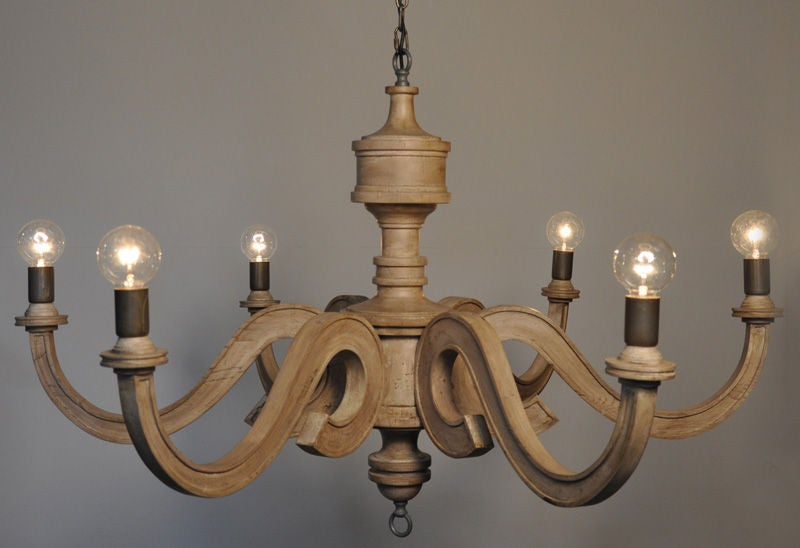 Six Arm Wooden Chandelier At 1stdibs