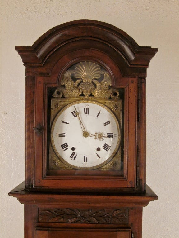 French 18th C Tall Case Clock With Morbier Movement At