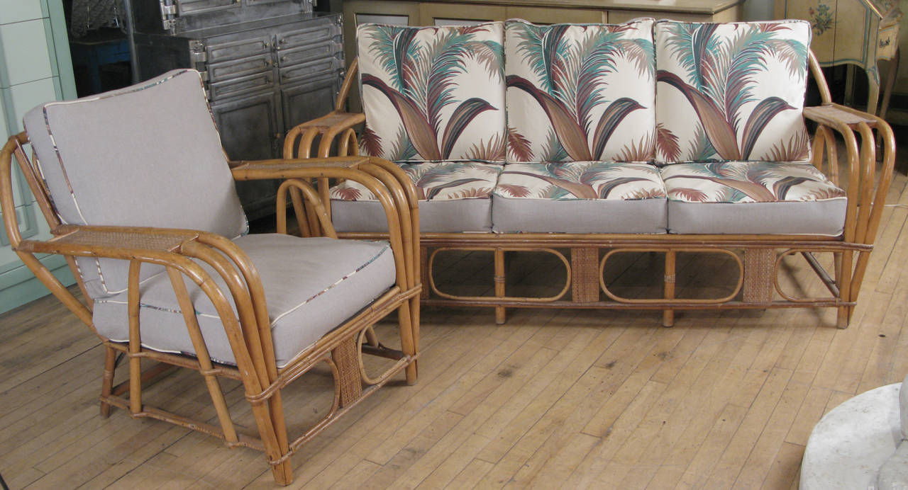Vintage 1940s Rattan Sofa and Chair with Reversible Cushions at 1stdibs A charming vintage 1940s rattan lounge set  with a three seat sofa and  matching