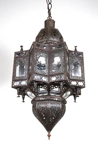 Large Moroccan Star Shaped Light Pendant For Sale at 1stdibs Large Moroccan Moorish star shaped lantern with clear glass multifaceted  and intricate filigree work on