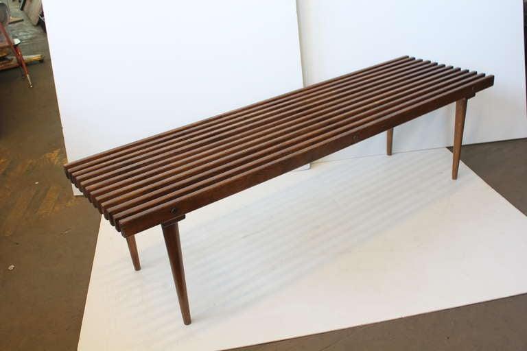 Mid Century George Nelson Style Wood Slat Bench Coffee